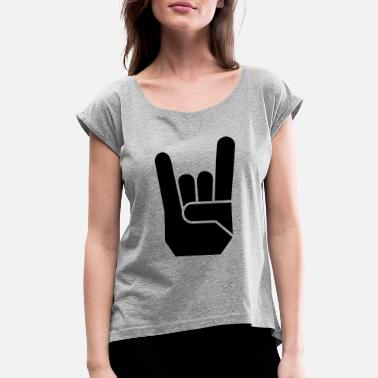 Pommesgabel Rock Hand Pommesgabel Devilhand - Women's Rolled Sleeve T-Shirt