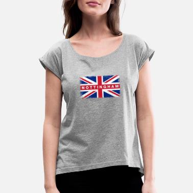 Nottinghamshire Nottingham Shirt Vintage United Kingdom Flag T-Shi - Women's Rolled Sleeve T-Shirt