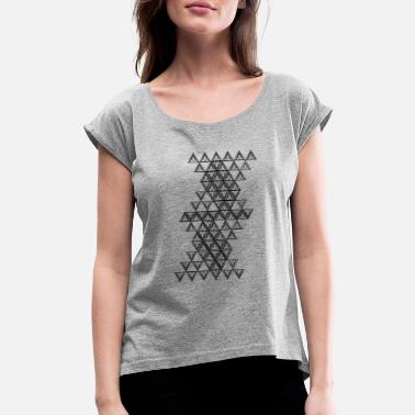 Circle Triangle Triangle with circles - Women's Roll Cuff T-Shirt