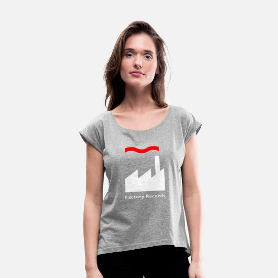 Factory T-Shirts - Factory Records Retro Record Label Mens Music - Women's Rolled Sleeve T-Shirt heather gray
