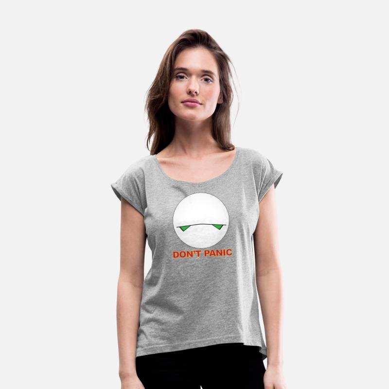 Hitchhikers T-Shirts - Marvin Hitchhiker's Guide - Women's Rolled Sleeve T-Shirt heather gray