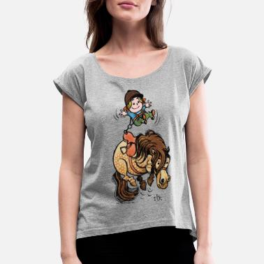 Norman Thelwell Thelwell Funny Illustration Bucking Horse - Women's Rolled Sleeve T-Shirt