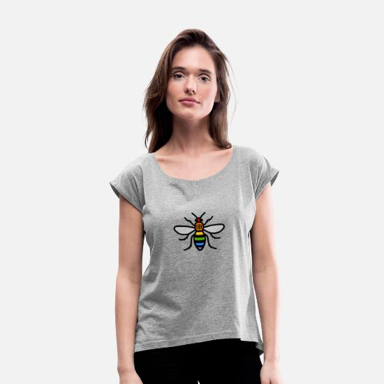 Manchester T-Shirts - Manchester Bee - Women's Rolled Sleeve T-Shirt heather gray