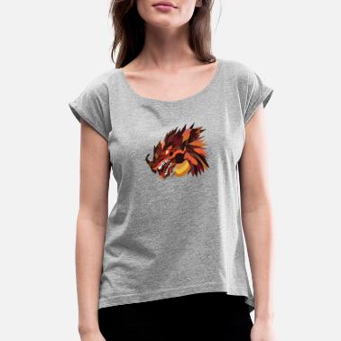 Dragon Head Artsy Dragon Head Fantasy Creature Mythical Gift - Women's Rolled Sleeve T-Shirt