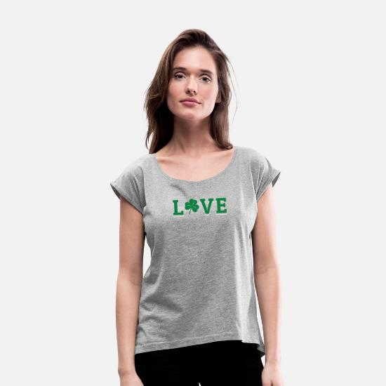 Greenman T-Shirts - Love St Patrick's Day Leprechaun Shamrock Ireland - Women's Rolled Sleeve T-Shirt heather gray