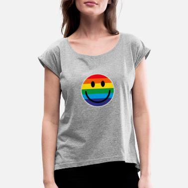 Rainbow Smile RAINBOW SMILE - Women's Rolled Sleeve T-Shirt