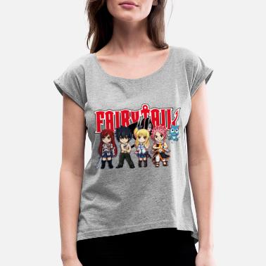 Tail The Great Demon Group of Fairy Tail Anime - Women's Rolled Sleeve T-Shirt