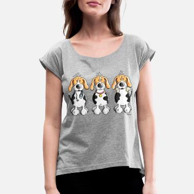 Beagle Three Funny Beagle Cartoon - Women's Rolled Sleeve T-Shirt