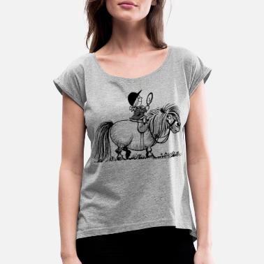 Norman Thelwell Thelwell Penelope Riding A Pony - Women's Rolled Sleeve T-Shirt