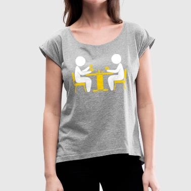 A Poker Player Looks At His Cards - Women's Roll Cuff T-Shirt