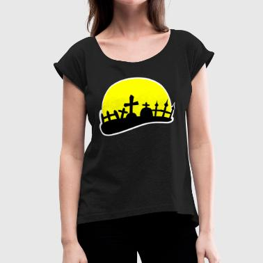 Fence Design Full Moon Graveyard Cemetery  - Women's Roll Cuff T-Shirt