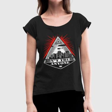 Illuminati Eye Of Providence Tee Adult Black New I - Women's Roll Cuff T-Shirt