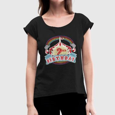 2nd Birthday Kids Circus Carnival Birthday 2nd Birthday - Women's Roll Cuff T-Shirt