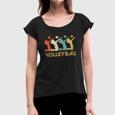 Volleyball Art Retro Volleyball Pop Art - Women's Roll Cuff T-Shirt