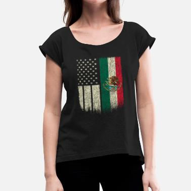 Mexican Green Mexican American Patriot Mexican American Flag - Women's Roll Cuff T-Shirt