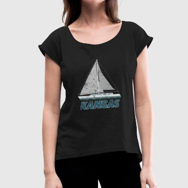 Kansas Sailing Shirt Boat Captain Shirt Love Boating Shirtpng - Women's Roll Cuff T-Shirt