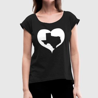 Texas Marshall Heart Love Texas Patriotic - Women's Roll Cuff T-Shirt