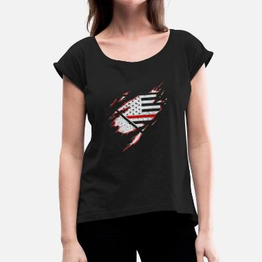 Navy Retired Gift for Firefighter Proud Strong Appreciation US flag - Women's Roll Cuff T-Shirt