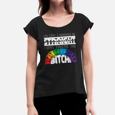 Sex Csd rainbow flag gay pride - Women's Roll Cuff T-Shirt