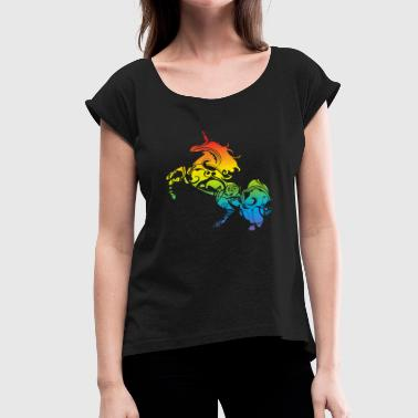 Gay Floral Floral Unicorn - Women's Roll Cuff T-Shirt