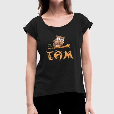 Tam Owl - Women's Roll Cuff T-Shirt