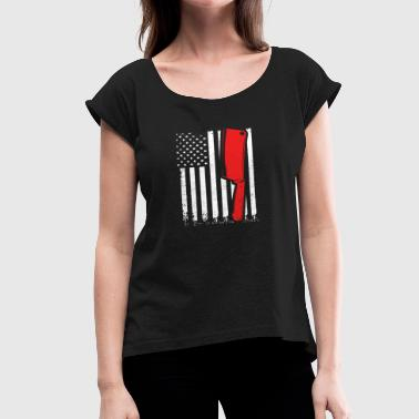 Knife American Flag Proud American Butcher Flag Gift - Women's Roll Cuff T-Shirt