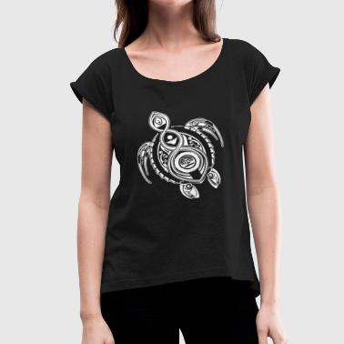 Turtle Hawaii Hawaii Turtle Tribal Art - Women's Roll Cuff T-Shirt