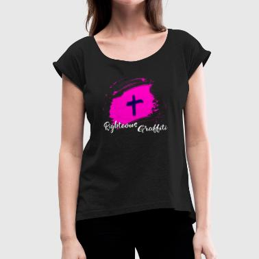 Pink-jesus-cross Cross Pink Splash RG - Women's Roll Cuff T-Shirt