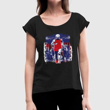 Victorious Symbol Man victory running American flag symbol sports - Women's Roll Cuff T-Shirt
