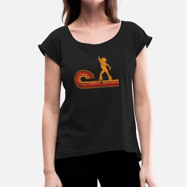 Disco Dancer Silhouette Retro Style Disco Dancer Silhouette Disco - Women's Roll Cuff T-Shirt
