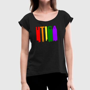 Gay New York Utica New York Gay Pride Rainbow Skyline - Women's Roll Cuff T-Shirt