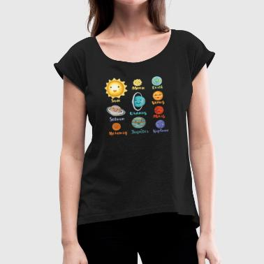 Solar System Planets Cartoon Planets Of The Solar System - Women's Roll Cuff T-Shirt