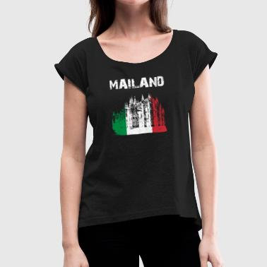 Tourism City-Design Milan Cathedral GER rfK - Women's Roll Cuff T-Shirt
