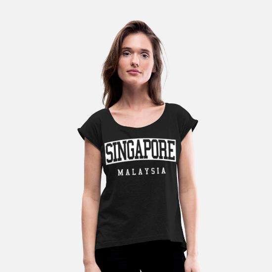 Singapore T-Shirts - Singapore - Women's Rolled Sleeve T-Shirt black