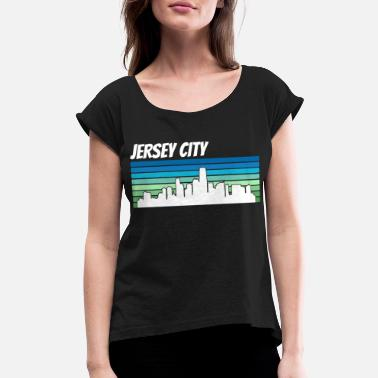 City Skyline Retro Jersey City Skyline - Women's Roll Cuff T-Shirt