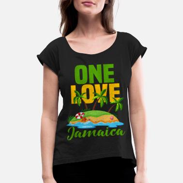 Rasta Jamaica Love Jamaican Rasta - Women's Rolled Sleeve T-Shirt