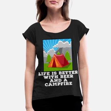Beer Tent Camping Beer Drinking Tent Hiking Alcohol Gift - Women's Rolled Sleeve T-Shirt