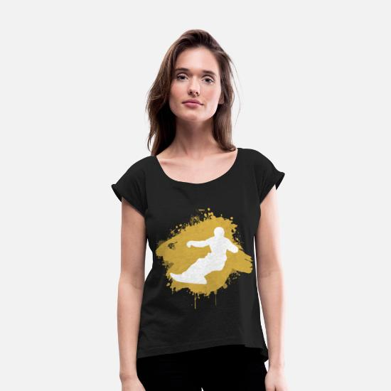 Gift Idea T-Shirts - Snowboard Snowboarders Snowboarding Splash - Women's Rolled Sleeve T-Shirt black