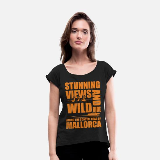Summer Holidays T-Shirts - Mallorca Summer Holidays Malle Vacation Spain Summ - Women's Rolled Sleeve T-Shirt black