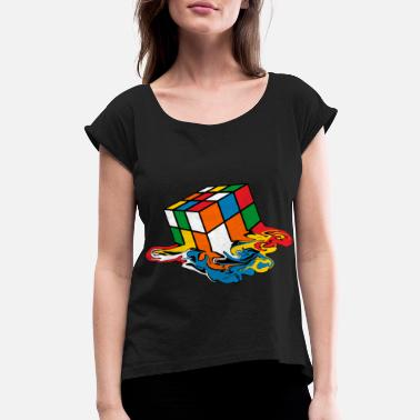 Cube Melting Rubik's Cube Toy - Women's Rolled Sleeve T-Shirt