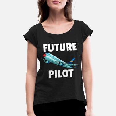 Flight Airplane Fly Plane pilot flying flight airport 747 - Women's Rolled Sleeve T-Shirt