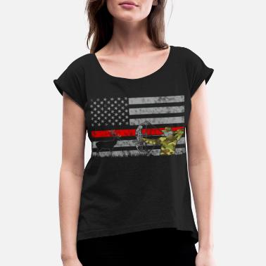 Roe Deer Thin Red Line Bow Deer Hunting Camouflage Flag - Women's Rolled Sleeve T-Shirt
