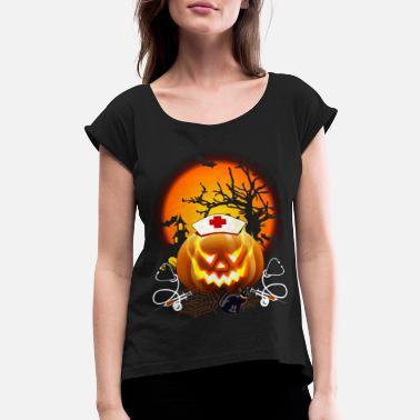 ed6b0b10 Nurse Halloween Nurse Pumpkin Funny Halloween - Women's Rolled Sleeve  ...