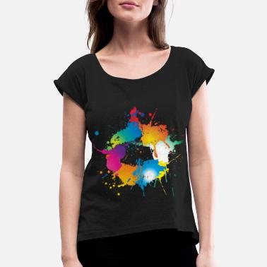 Color Splash Colorful splashes of color make a circle - Women's Rolled Sleeve T-Shirt