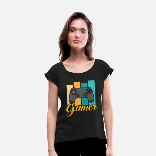Console T-Shirts - consoles players gamblers multiplayer football - Women's Rolled Sleeve T-Shirt black