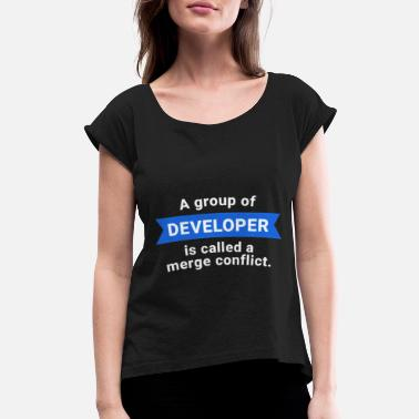 Conflict Developer Programmer Merge Conflict - Women's Rolled Sleeve T-Shirt