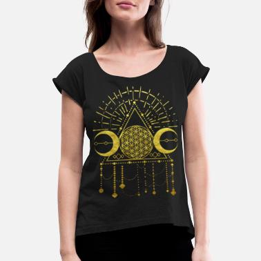 Ornament flower of life shaman geometry symbol gold - Women's Rolled Sleeve T-Shirt