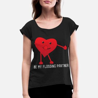 Handinhand Valentines Day Flossing Floss Heart Partner Gift - Women's Roll Cuff T-Shirt