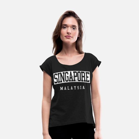 Singapore T-Shirts - Singapore Malaysia - Women's Rolled Sleeve T-Shirt black