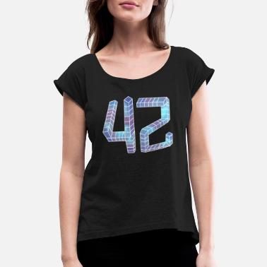 Number 42 Number 42 Answer Nerd - Women's Roll Cuff T-Shirt